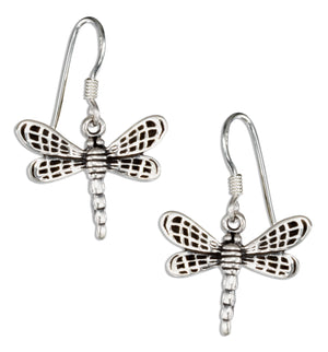 Sterling Silver Dainty Antiqued Dragonfly Earrings on French Wires
