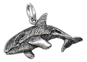Sterling Silver Antiqued Orca Whale Pendant