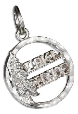 Sterling Silver Round Lake Tahoe Pendant