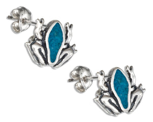 Sterling Silver Simulated Turquoise Frog Earrings Stainless Steel Posts/nuts