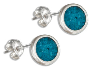 Sterling Silver Simulated Turquoise Dot Earrings on Stainless Steel Post/nuts