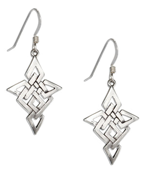 Sterling Silver Open Celtic Knot Earrings on French Wires