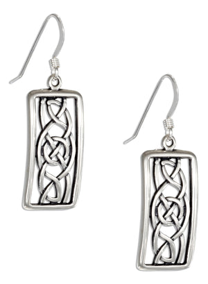 Sterling Silver Filigree Framed Celtic Knot Earrings on French Wires