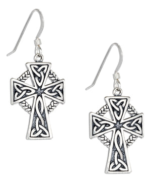 Sterling Silver Trinity Knots Celtic Cross Earrings on French Wires
