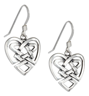 Sterling Silver Open Heart Celtic Knot Earrings on French Wires