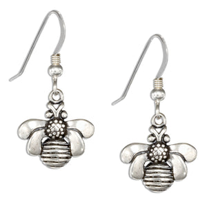 Sterling Silver Bumble Bee Earrings on French Wires