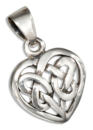 Sterling Silver Small Woven Knot Celtic Heart Pendant