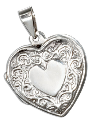 Sterling Silver High Polish Flat Heart Locket with Scroll Border