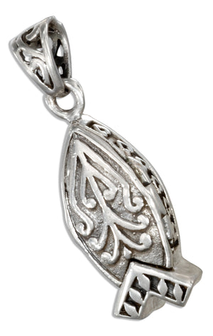 Sterling Silver Christian Fish Prayer Box Locket