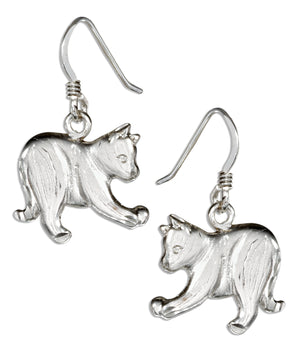 Sterling Silver Playful Cat Earrings on French Wires