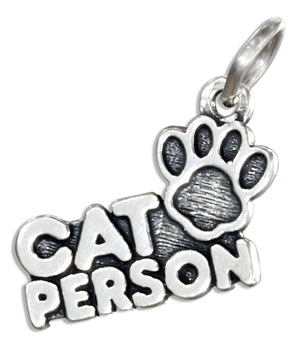 "Sterling Silver ""Cat Person"" Pendant with Paw Print"