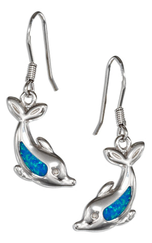 Sterling Silver Synthetic Blue Opal Diving Dolphin Earrings