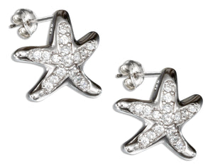 Sterling Silver Pave Cubic Zirconia Starfish Earrings