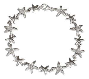 Sterling Silver 7 inch Alternating Silver and Cubic Zirconia Starfish Link Bracelet