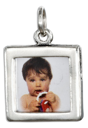 Sterling Silver Double Sided Square Picture Frame Charm