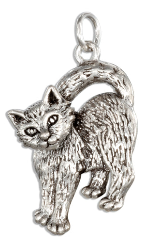 Sterling Silver Cat Charm with Moveable Head