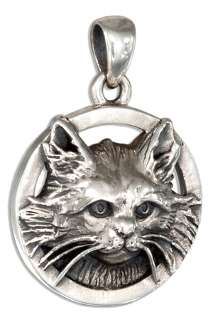 Sterling Silver Domestic Long Hair Cat Pendant