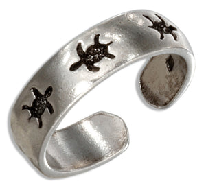 Sterling Silver Stamped Sea Turtle Toe Ring