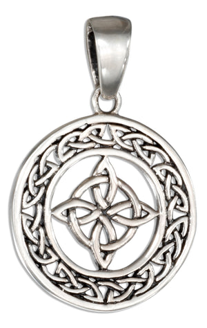 Sterling Silver Round Celtic 4 Point Knot Pendant