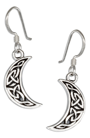 Sterling Silver Celtic Crescent Moon Earrings