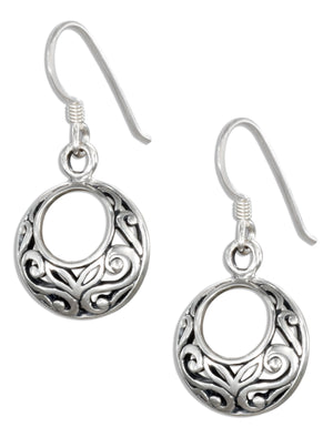 Sterling Silver Small Offset Open Circles Celtic Earrings