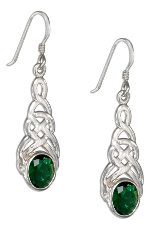 Sterling Silver Celtic Knot Earrings with Green Glass Oval