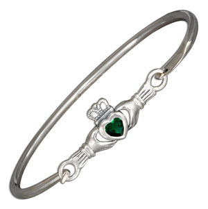 Sterling Silver Green Glass Irish Claddagh Bangle Bracelet