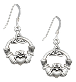 Sterling Silver Irish Claddagh Earrings with Celtic Trinity Knot