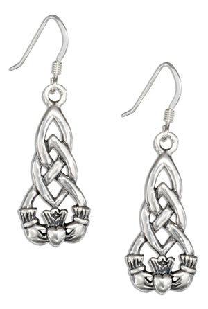 Sterling Silver Irish Claddagh Earrings with Celtic Knots