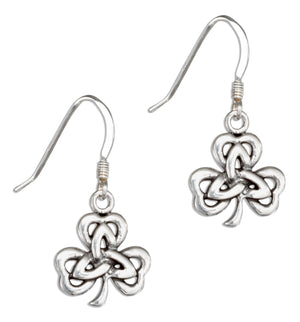 Sterling Silver Irish Shamrock Earrings with Celtic Trinity Knot