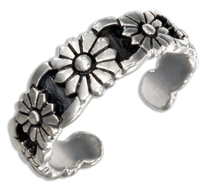 Sterling Silver Antiqued Daisies Toe Ring