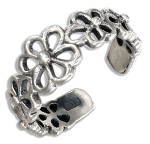 Sterling Silver Open Flowers Toe Ring