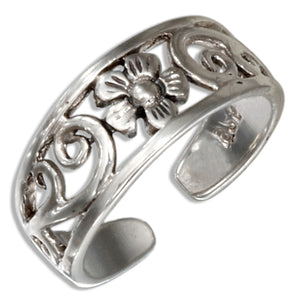 Sterling Silver Filigree Scrolls and Flower Toe Ring