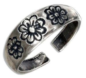 Sterling Silver Triple Flowers Toe Ring