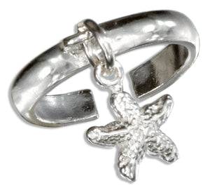 Sterling Silver Starfish Charm Toe Ring
