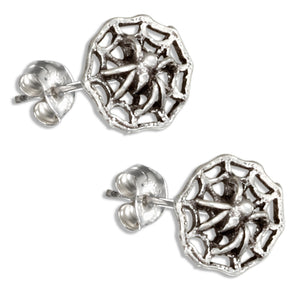 Sterling Silver Small Spider Web Post Earrings