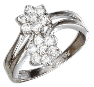Sterling Silver Double Flower Cubic Zirconia Ring