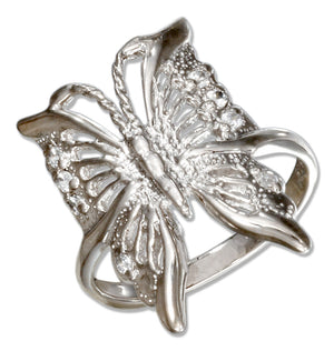 Sterling Silver Filigree Butterfly Cubic Zirconia Ring