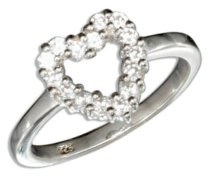 Sterling Silver Pave Cubic Zirconia Open Heart Ring