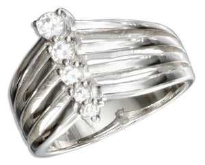 Sterling Silver Cubic Zirconia Journey Style Ring