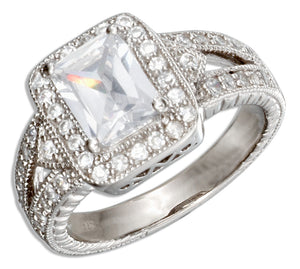Sterling Silver Vintage Style Rectangular Cubic Zirconia Engagement Ring
