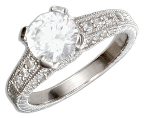 Sterling Silver Vintage Design Round Cubic Zirconia Engagement Ring