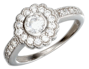 Sterling Silver Vintage Flower Design Round Cubic Zirconia Engagement Ring