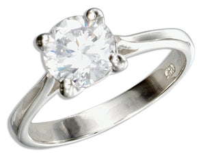 Sterling Silver Classic Round Cubic Zirconia Solitaire Engagement Ring