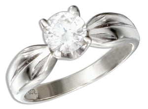 Sterling Silver Round Cubic Zirconia Engagement Ring with Pinched Shank