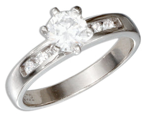 Sterling Silver Round Cubic Zirconia Engagement Ring with Cubic Zirconia Band