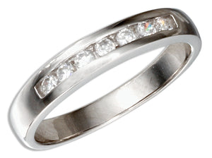 Sterling Silver Channel Set Cubic Zirconia Wedding Band Ring