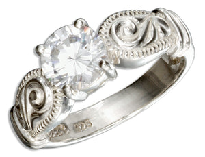 Sterling Silver Round Cubic Zirconia Engagement Ring with Scrolls