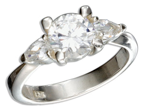 Sterling Silver Round Cubic Zirconia Engagement Ring with Pear Cubic Zirconias