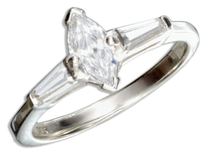Sterling Silver Marquise Cubic Zirconia Engagement Ring with Baguette Cubic Zirconias